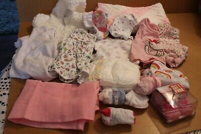 """Bundle Various Tiny Baby Girl Clothes Fit 19-20"""" Doll Baby Or Reborn"""