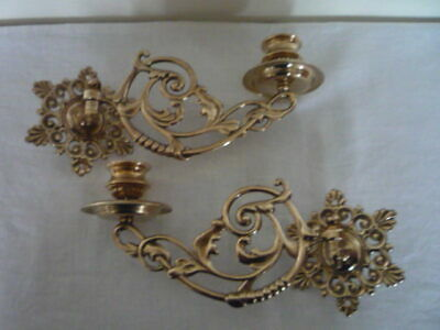 Pair Vintage Decorative Brass Candlestick Wall Candle Holder Wall Sconce Piano c