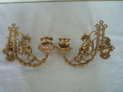** A Pair Of Brass Gothic Decor Griffin Candle Sconces Wall Candle Holders **