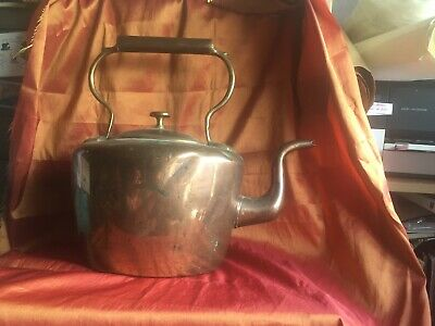 Antique Victorian Copper Kettle William Soutter Dovetail Joints Brass Seams