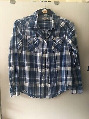 LEE ladies blue checkered shirt size small cowgirl western cowboy checked