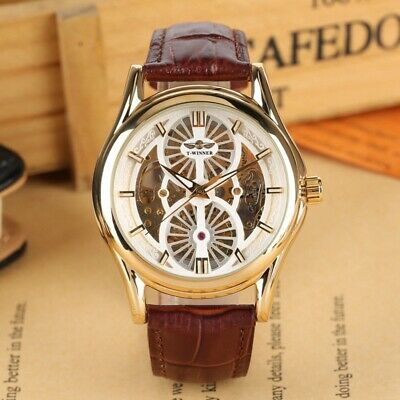 Winner Automatic Mechanical Watch Mens Leather Wristwatch Fashion Dial Watches