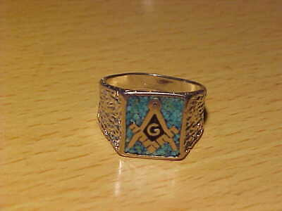 e0c18313e1265 VINTAGE MASONIC SILVER Tone with Turquoise Chip Inlay Ring Size ...
