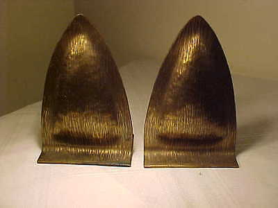 RARE Antique Hand Hammered Copper Arts & Crafts Signed E.T.C.FISH Bookends TIOGA