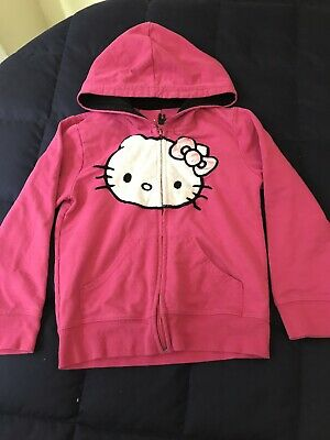 Girls Youth S Hello Kitty Full Zip Sweater Jacket Gently Used Pink