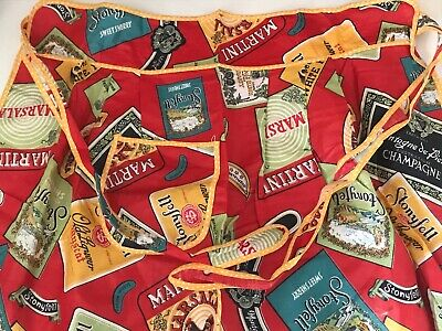 Vintage  Retro Apron - advertising label fabric  - never worn