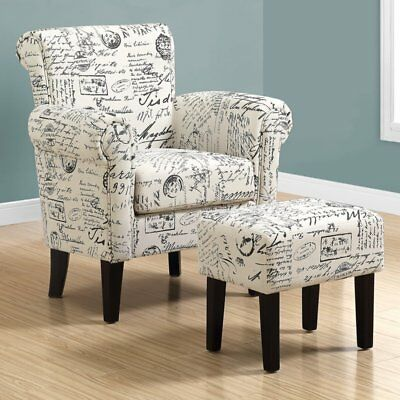 Monarch Specialties Vintage French Accent Chair and Ottoman