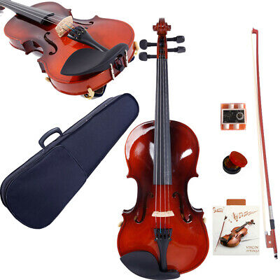 Glarry 3/4 4/4 Size Acoustic Maple Violin Set w/Case Bow Rosin Strings Tuner