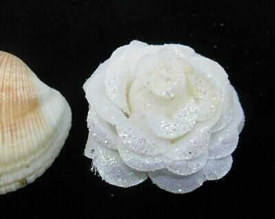 300 Glittered White Artificial Rose Flower Head Buds