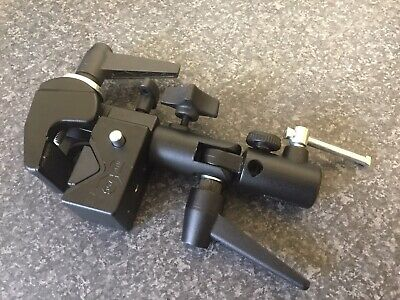 Manfrotto 035 Super Clamp with Manfrotto Swivel Mount Great Condition FREEPOST