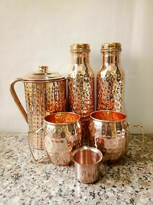 Pure Copper Handmade 1 Jug Water Pitcher 2 Big Carved Glasses 2 Thermos Bottle