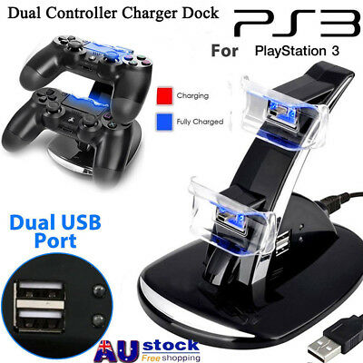 AU!  LED Dual Controller Charger Dock Station Stand Charging For Playstation PS3