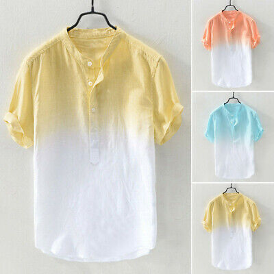 Mens Blouse Summer Thin Holiday Beach Shirts Party Tops Basic Tee Stand Collar
