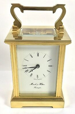 Brass Carriage Clock with Key With Morrell & Hilton Huntington