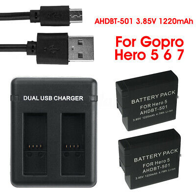 1220mAh Battery AHDBT-501 USB Dual Fast Charger Camera For GoPro HD Hero 5 6 7