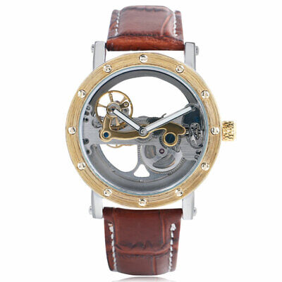 Automatic Mechanical Watch Wrist Watch Transparent Skeleton Dial Leather Strap