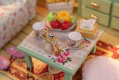 DIY Kids Toy Miniature Dollhouse w/ LEDs and Dust cover Assemble Doll House Furn