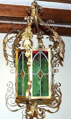 Stunning Antique EDWARDIAN Brass & Stained Glass Lamp Lantern Ceiling Lamp