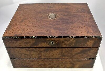 Antique Birds Eye Maple & Mother of Pearl Fitted Writing Box Slope circa 1880