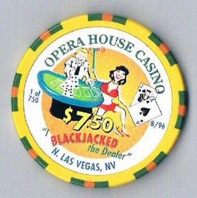 Opera House Casino $7.50 Blackjacked Chip North Las Vegas Nevada