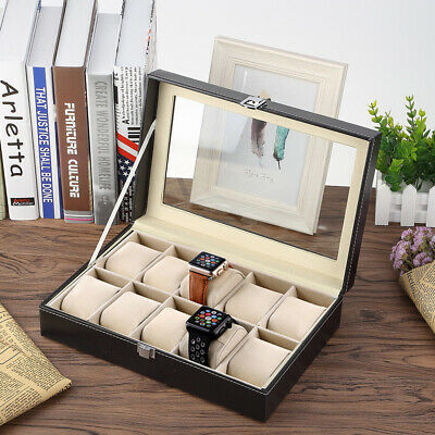 10 Grids Faux Leather Watch Case Display Show Box Storage Jewellery Glass Top UK
