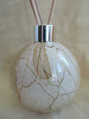 Beautiful Hand Made Amelia Art Glass Reed Diffuser Beige Crackle boxed Gift Idea