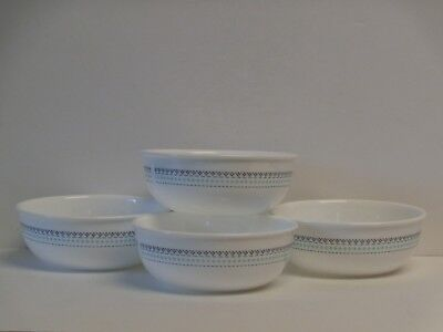 "Corelle Folk Stitch Set of 4 Bowls 16-oz Brand New HTF 5-5/8"" Soup Salad Cereal"