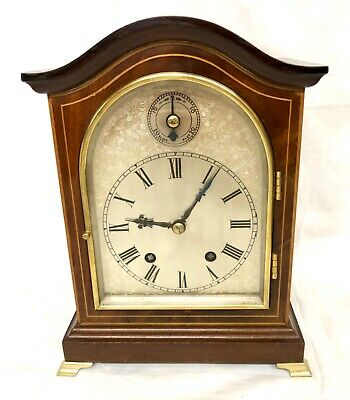 W & H Antique Inlaid Mahogany TING TANG Bracket Mantel Clock CLEANED & SERVICED