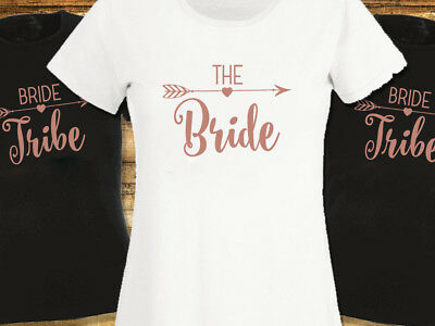 Rose Gold Bride Tribe Hen Party T Shirts Hen Do T-shirt Ladies or Unisex