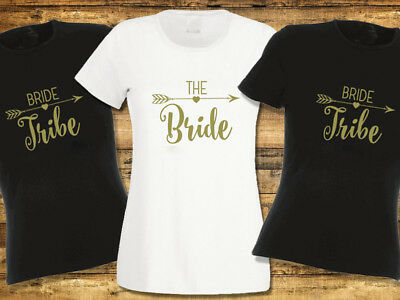 Bride Tribe Hen Party T Shirts Hen Do T-shirt Ladies or Unisex Available Gold