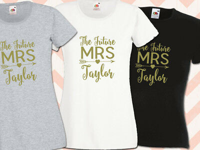 The Future Mrs Surname Hen Night T Shirts Do Party  Ladies Printed Personalised