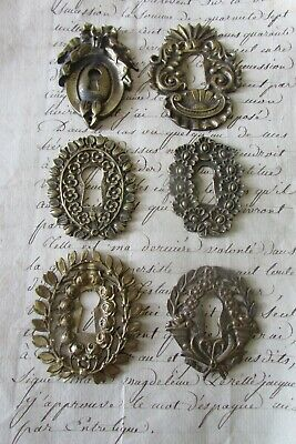 Antique French Job Lot 6 Brass Keyhole Escutcheons all Different For Projects