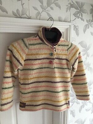 Joules Girls Fleece Feel Jumper Size 8 Years Cream With Coloured Stripes