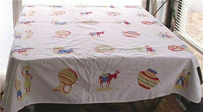 VTG WHITE COTTON PRINT TABLECLOTH SOUTHWEST MEXICAN DESIGN MOTIFS 49 x 65 1/2