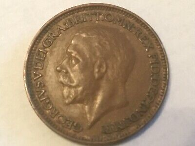 1929 George V  British Farthing Coin 1/4 penny