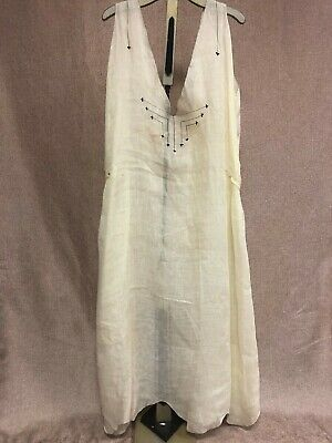 Antique 1920s Art Deco Pale Yellow Shift Dress Tunic With Black Embroidery AS IS