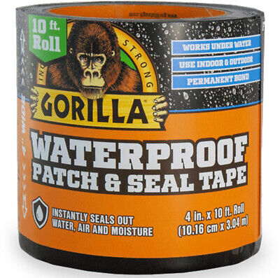 Gorilla Waterproof Tape Patch and Seal Permanent Bond 4 X 10 Black, 1 Pack