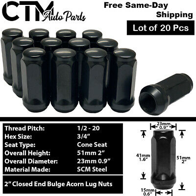 20 Pc BLACK CUSTOM WHEEL BULGE ACORN LUG NUTS FORD BRONCO 2 # AP-1904BK