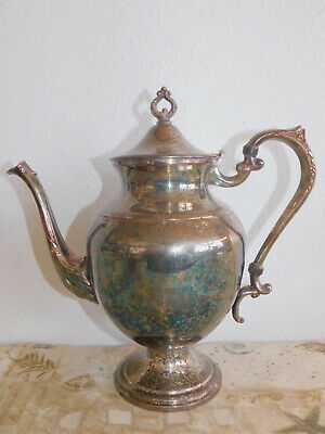 "Silver on Copper Silver-plated Coffee Pot Signed 10"" Lidded"