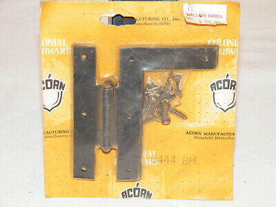 "New Acorn Colonial 4"" H L Hinges Black Rustic Vintage Cabinet Barn Hardware Nos"