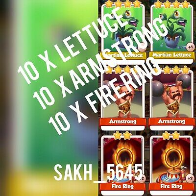 10 x Martian Lettuce , 10 x Fire Ring & 10 x Armstrong  :- Coin Master Cards