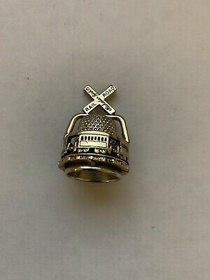 Pewter Thimble Signed by Nicholas Gish Gold Railroad Crossing Spins