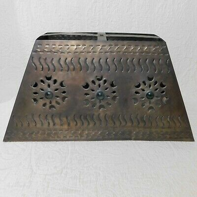"""Vintage large 20"""" PUNCHED TIN w/ MARBLES Lamp Shade brass tone floral rectangle"""