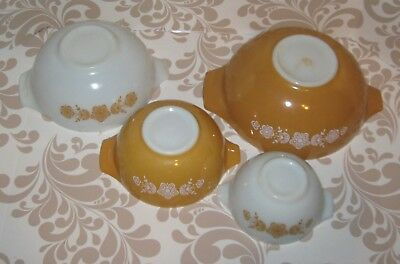 Pyrex nested bowl set-Butterfly gold pattern on gold & white milk glass 1970's