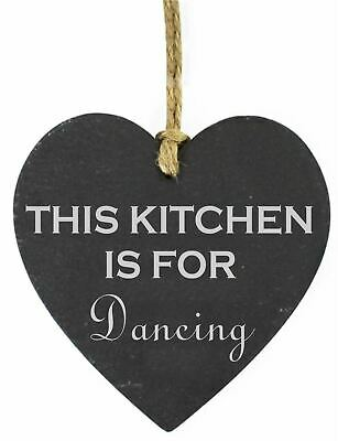 Personalised This Kitchen Is For Dancing Engraved Slate Heart