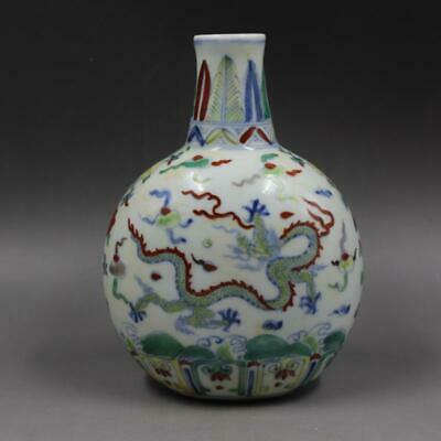 Chinese ancient antique hand make colors cloud Dragon pattern vase w78