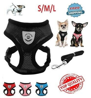Breathable Mesh Dog Harness and Leash No Pull Colar Walk For Small Dog Pet NEW