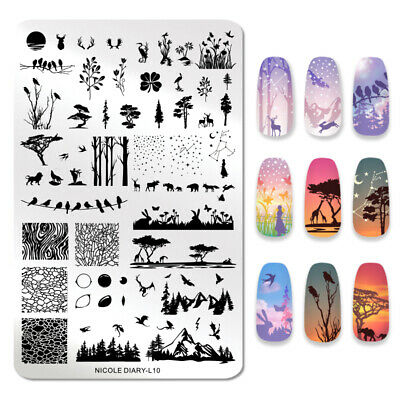 NICOLE DIARY Nail Stamping Plates Rectangle Animal Tree Image Nail Art Stencils