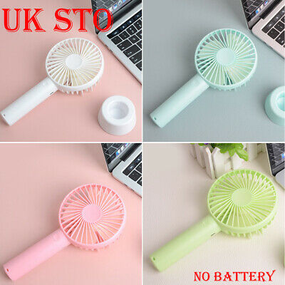 Candy Color Handheld Mini Fan with Base Portable Desktop Fan USB Rechargeable UK