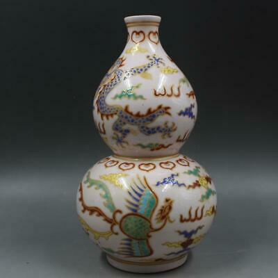 Chinese ancient antique hand make Multicolored Dragon-phoenix pattern gourd vase